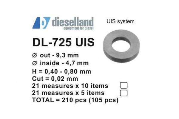 Шайбы регулировочные Ø9.3x4.7, H0.4-0.8, шаг 0.02 — DL-725 UIS