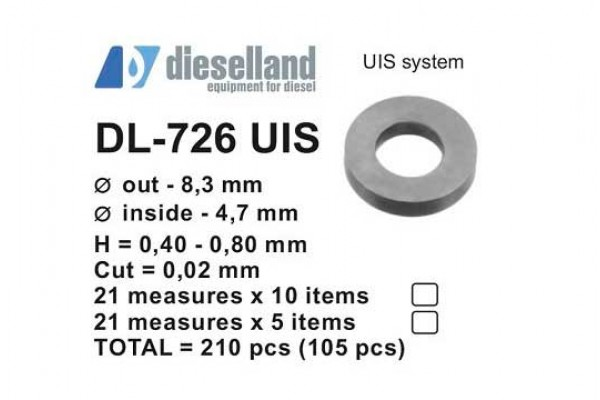 Шайбы регулировочные Ø8.3x4.7, H0.4-0.8, шаг 0.02 — DL-726 UIS