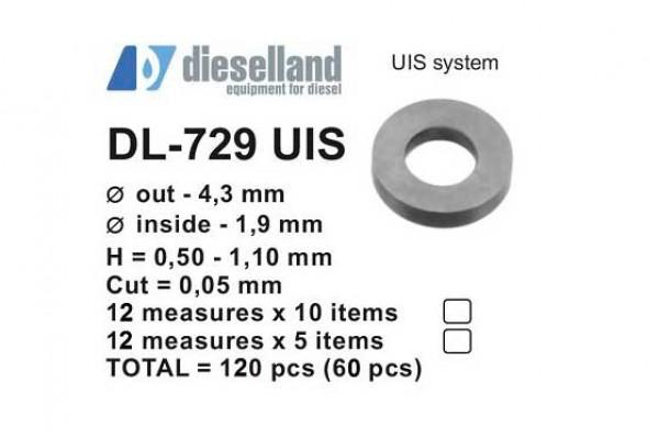 Шайбы регулировочные Ø4.3x1.9, H0.5-1.10, шаг 0.05 — DL-729 UIS