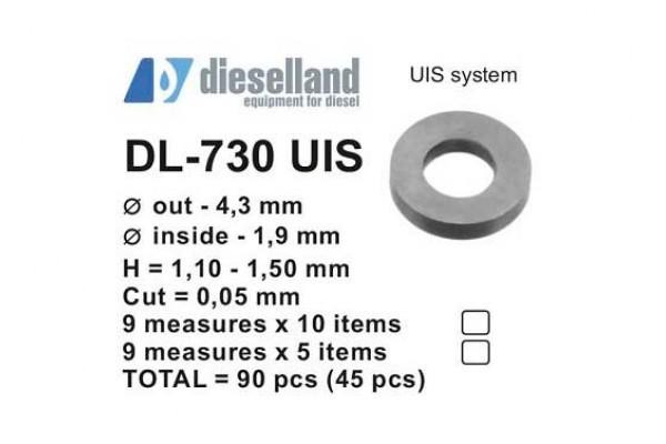 Шайбы регулировочные Ø4.3x1.9, H1.10-1.50, шаг 0.05 — DL-730 UIS